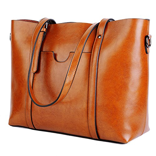 YALUXE Women's Vintage Style Soft Leather Work Tote Large Shoulder Bag Dark Brown 2