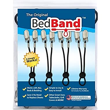 Bed Band Not Made in China. 100% USA Worker Assembled.. Bed Sheet Holder, Gripper, Suspender and Strap. Smooth any Sheets on any Bed. Sleep Better. Patented.,Black,1 Pack (4 Bands)