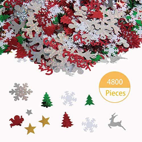 SBYURE 100g/4800 Pieces Christmas Table Confetti Christmas Design Confetti Pentagram,Snowflake, Santa, Pine, Merry Christmas Alphabet, Elk Party Decoration