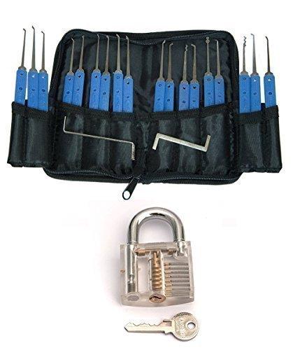 Set: Transparentes Übungsschloss. Vorhängeschloss zum Trainieren für Lockpicking (in Metalldose verpackt) und großes Dietrich-Set 20 Teile mit Tasche
