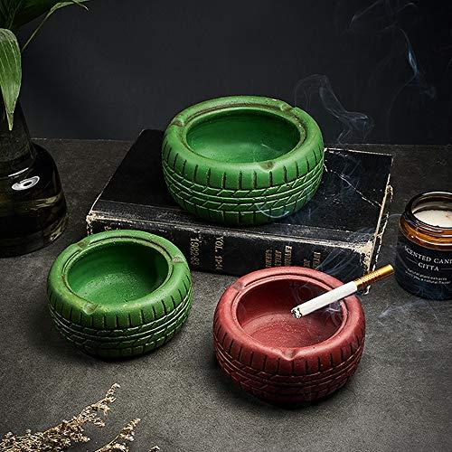 Cenicero Cemento Creativa de la Vendimia Cenicero Inicio Decoración Mobiliario de Estar Sala de Estudio turística, Cemento Cenicero de cerámica (Color : Red, Size : 10.5X10.5X5cm)