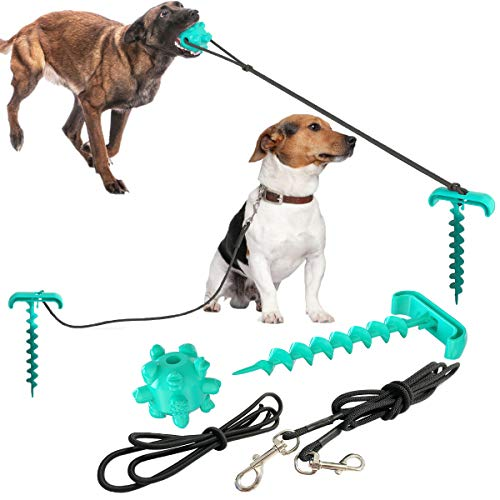 Dog Tie Out Cable and Stake, 10.19' Sturdy Stake for Dog Tie Out with Dog Chew Toy and Elasticity Dog Chain for Camping Backyard, Great for Small Medium Large Dogs Up to 120 lbs (Blue Stakes)