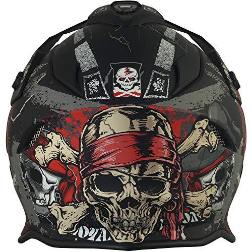 Broken Head Road Pirate Cross-Helm mit Visier | Endurohelm – MX Motocross Helm mit Sonnenblende – Quad-Helm Größe M (57-58 cm) - 5