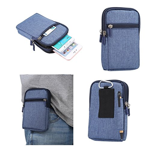 DFV mobile - Universal Multi-Functional Vertical Stripes Pouch Bag Case Zipper Closing Carabiner for Samsung Galaxy A5 (2017) Dual - Blue (17 x 10.5 cm)