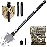 Camping Shovel, Portable Survival Shovel, Camping Multitool, Military Heavyduty Folding Compact Tool with 16-in-1 Multifunction for Off-Roading, Camping, Outdoor, Survivalist and Emergency