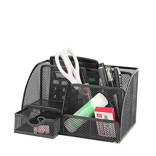 Xiying Organizador de escritorio de malla, organizador de escritorio multifuncional, soporte de suministros de oficina, con 6 compartimentos y 1 cajón para casa, oficina, escuela, aula, color negro