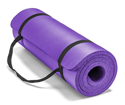Spoga Premium Extra Thick 71-Inch Long High Density Exercise Yoga Mat with Comfort Foam and Carrying Straps, Purple