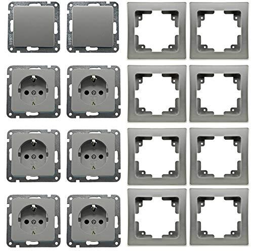 DELPHI Steckdose Schalter Starter Set mit Rahmen I 6 Steckdosen + 2 Wechselschalter + 8 Rahmen I Silber