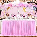 HBBMAGIC Falda de mesa de tul, color rosa, estilo DIY para decoración de fiestas, bodas, cumpleaños, candelabros, Navidad, baby shower (275 cm x 76 cm)
