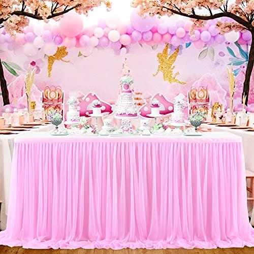 NSSONBEN Falda de mesa de tul rosa para decoración de mesa para baby shower, niña, boda, cumpleaños, cumpleaños infantil, comunión (rosa, 2 yards)