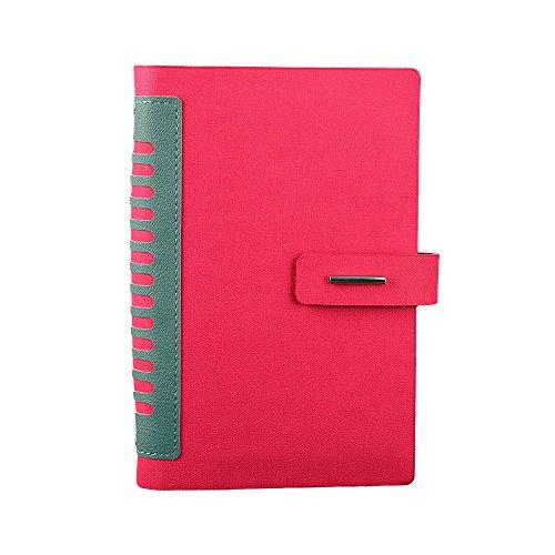 Vintage suave piel sintética negocio portátil de grosor papel bloc de notas, A5agenda con tarjeta soporte y lápiz Loop & recargables diario de hojas sueltas, color rosa rojo