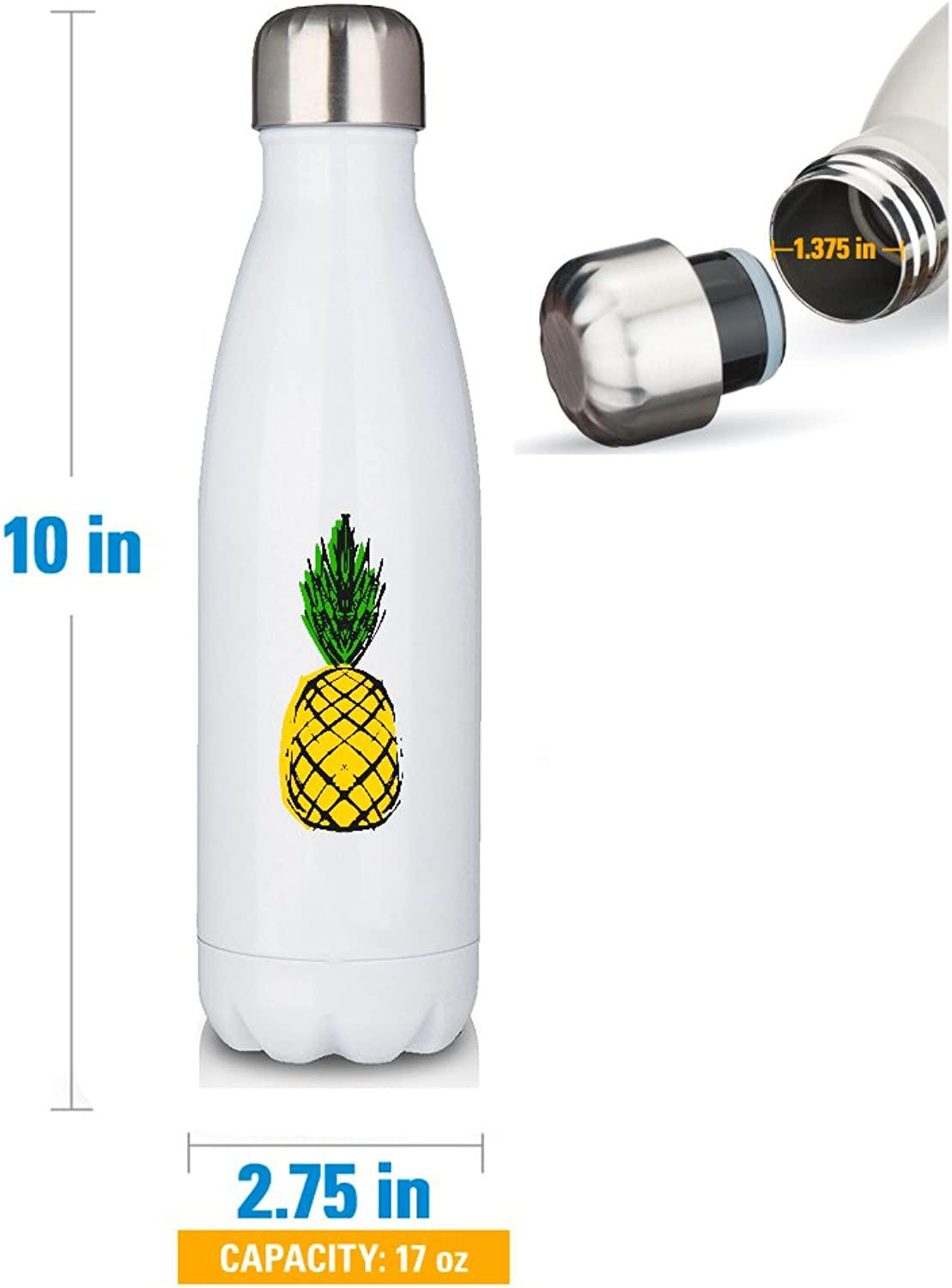 Premium White 17oz Double Walled Insulated Cola-Shaped Stainless Water Bottle Pineapple Yellow