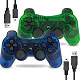 Burcica Wireless Controller for PS3 Playstation 3 Dual Shock, Gaming Gamepad Joystick Remote for PS3 6-axis with Charging Cord (Transparent Green and Transparent Blue)