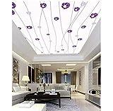 Wall Mural Paper Ceiling 3D Tiles HD Image TV Backdrop Romantic purple flowers Embossed Custom Gift...