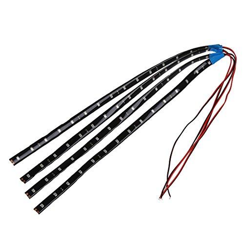 Toogoo(R) - 4 bandes adhésives 15 LED flexibles imperméables - 30 cm - bleu
