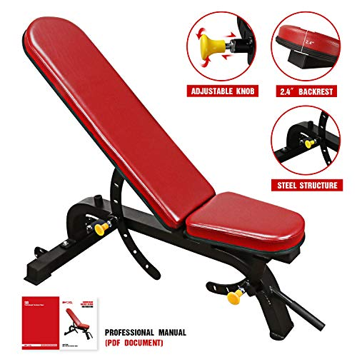Tespon Adjustable Weight Bench- 7+4 Positions Body Workout Bench, Multi-Purpose Incline/Flat Bench for Home Gym Strength Training, Ship from US