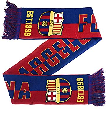 FC Barcelona Soccer Scarf Official Licensed Reversible Messi Barca Futbol La Liga 2019-2020 Great for Kids Soccer, Players, Trainers, Coaches Gift