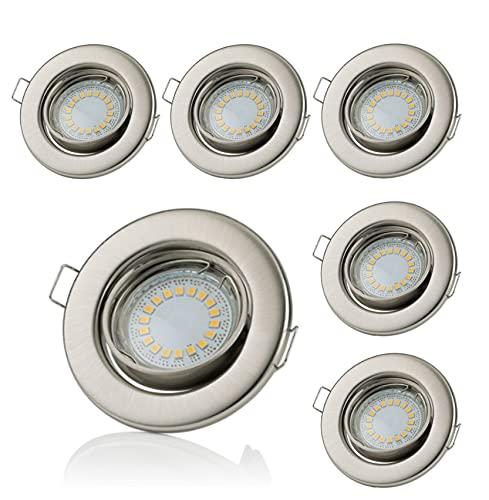 Lot de 6 spots encastrables Sweet Led® à LED GU10 5 W 400 Lumen 230 V - Cadre de montage, Rund - Warmweiß, GU10 5.0watts 230.00volts