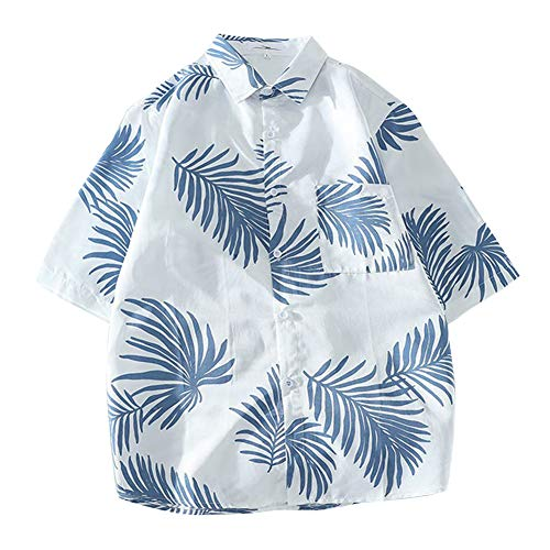 Metermall Fashion For Men Women Hawaii Beach Shirt Short Sleeve Leaf Holiday Retro Loose Casual Blouse Tops