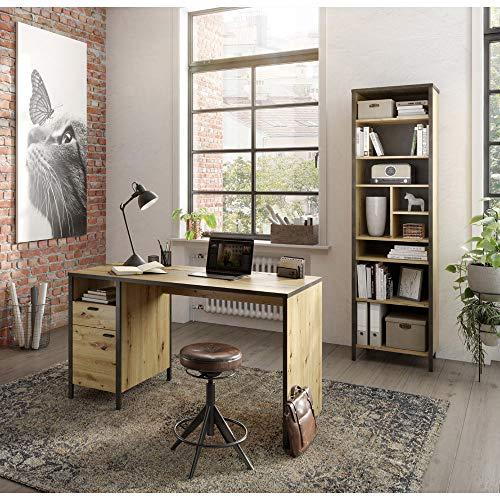 Lomadox Büromöbel 2-TLG. Kombination, Industrial Style, Artisan Eiche Nb./Stahloptik dunkel