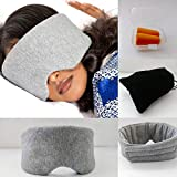 Plush 100% Handmade Gray Cotton Sleep Mask with Travel Pouch & Bonus Ear Plugs for Adults, Men & Women; Block Light and Sleep Deeply; Easy Closure for Perfect Fit; Excellent for yoga & Insomnia Relief