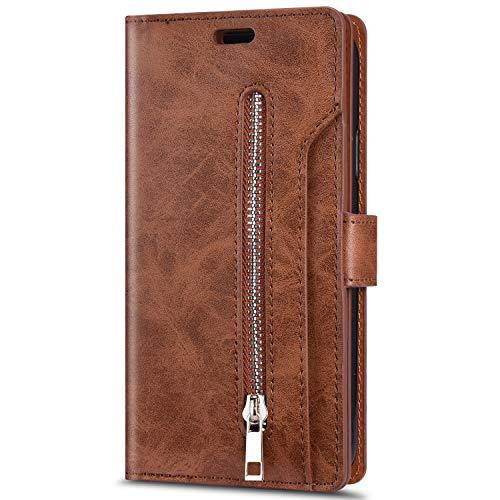 JAWSEU Kompatibel mit Huawei P30 Lite Hülle,PU Leder Hülle Flip Case Magnet Schutzhülle Handyhülle Geldbörse mit 9 Kartenfach Brieftasche Reißverschluss Klapphülle Handytasche,Braun