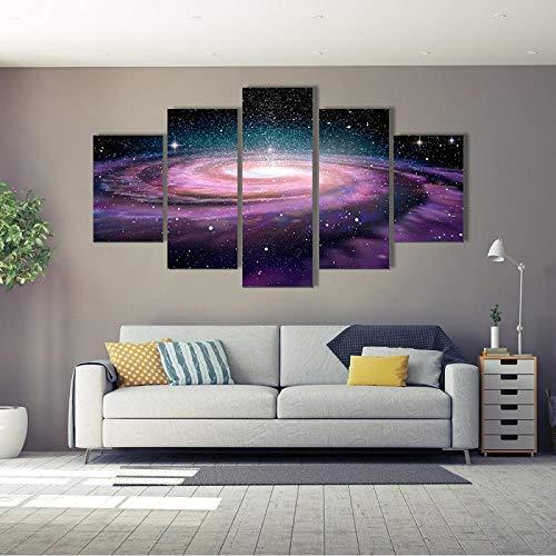 BXZGDJY Home Decor Hd Gedruckt Gedruckte Modulare Poster Gemälde 5 Panel Landschaft Spiral Galaxy In Deep Space Tableau Wandkunst Leinwand Bilder 150X100CM Bild Bilder auf Leinwand 5 teilig Poster f