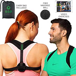 Effective Posture Corrector for Women and Men - Comfortable Back Posture Brace for Prevent Slouching and Hunching - H.O.B Posture Correct Brace by Fitophoria (Posture Corrector with FREE Massage Ball)