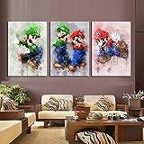 ksjdjok Game Poster Super Mario Bros Figura de Juego Etiqueta de la Pared Decoración del hogar Fondo Arte de la Pared Pintura de la Lona Regalos 40X60Cm 3 Unidades
