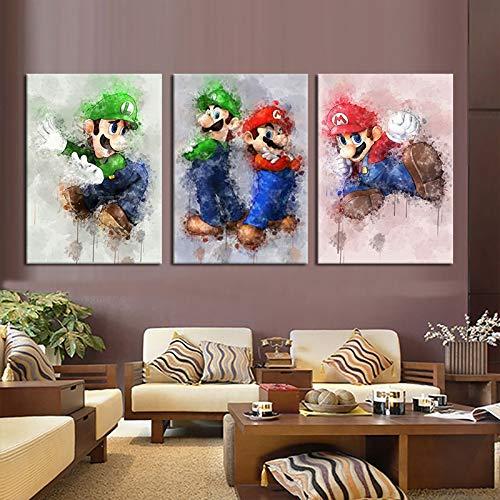 ksjdjok Spiel Poster Super Mario Bros Spielfigur Wandaufkleber Dekoration Hintergrund Wandkunst Leinwand Malerei Geschenke 40X60 cm 3 Stücke