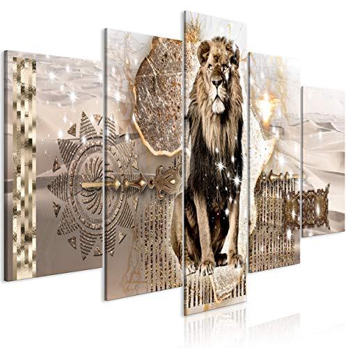 decomonkey Bilder Abstrakt Tiere Löwe 200x100 cm XXL 5 Teilig Leinwandbilder Bild auf Leinwand Wandbild Kunstdruck Wanddeko Wand Wohnzimmer Wanddekoration Deko Afrika Gold