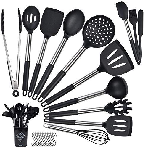 Fohil Küchenhelfer Küchenutensilien Set 14-teiliges Silikon-Kochutensilien-Set Antihaft Hitzebeständiger Silikonspatel Set+13 S-Haken