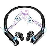 RENJUN Auriculares Bluetooth, estéreo portátil Cuello Altavoz inalámbrico Banda for el Cuello de Auriculares con cancelación de Ruido Juego Deporte Auricular Impermeable