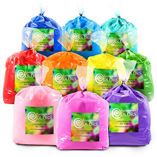 Color Powder for 30-40 People by Chameleon Colors, 50 Pounds, 10 Pack of Colors for Summer Fun, Holi Powder, Red, Yellow, Blue, Orange, Purple, Pink, Navy Blue, Magenta, Aquamarine, and Green Powder