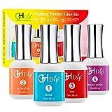 Dip Powder Nail Liquid Set Glue Kit GL401 (comes with dipping powder Base coat, Top coat, Activator, Brush Saver), No need of UV/LED Light to cure