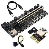 Kuinayouyi 1 Unidades PCIE Riser 1X a 16X extensión gráfica con sensor de temperatura para Bitcoin GPU minería Powered Riser Card