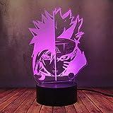 Creative Toy 16 Color Luster 3D Night Light, Uzumaki Naruto Uchiha Sasuke Model Desk Lamp, Japanese Anime USB Lava Decor Flashlight RGB Home Bedroom Decor Warm Lighting Bulbs Best Birthday Gift