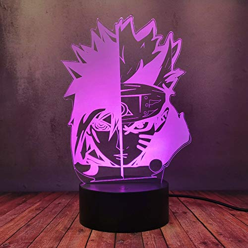 Uzumaki Naruto Uchiha Sasuke Modello Lampada da Scrivania, Lampada Giapponese Anime USB Lava Decor Torcia RGB Casa Camera Da Letto Decorazione Calda Lampadine Miglior Regalo di Compleanno