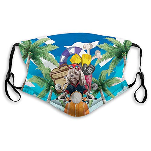 Puppy in Tropical Island with Palm Trees on a Motorbike Face Mask Reusable Washable Masks Cloth for Men and Women
