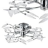 [lux.pro] Lámpara de techo con brazos de hoja - cromo (4xE14) Iluminación colgante - metal