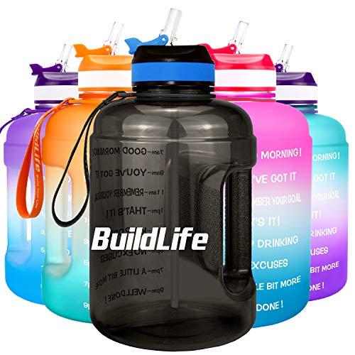 BuildLife 2,2 l motivierende Wasserflasche mit breiter Öffnung mit Strohhalm und Zeitmarkierung für tägliches Trinken, BPA-frei, wiederverwendbar, für Fitnessstudio, Sport, Outdoor (Schwarz, 2.2L)