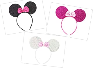 Micky Minnie Mouse orejas, diadema, disfraz, 3 piezas, negro, plateado,