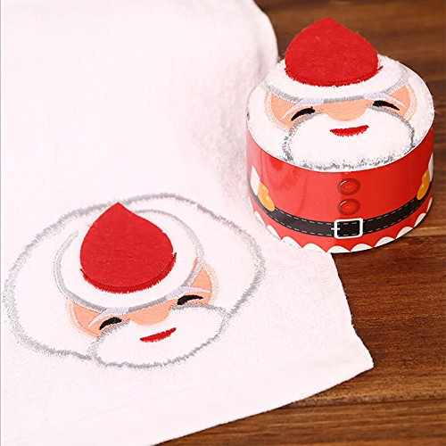 Decorative Towel Set, Qisc Christmas Tree Cake Modelling Cotton Towel Christmas Gift (White)