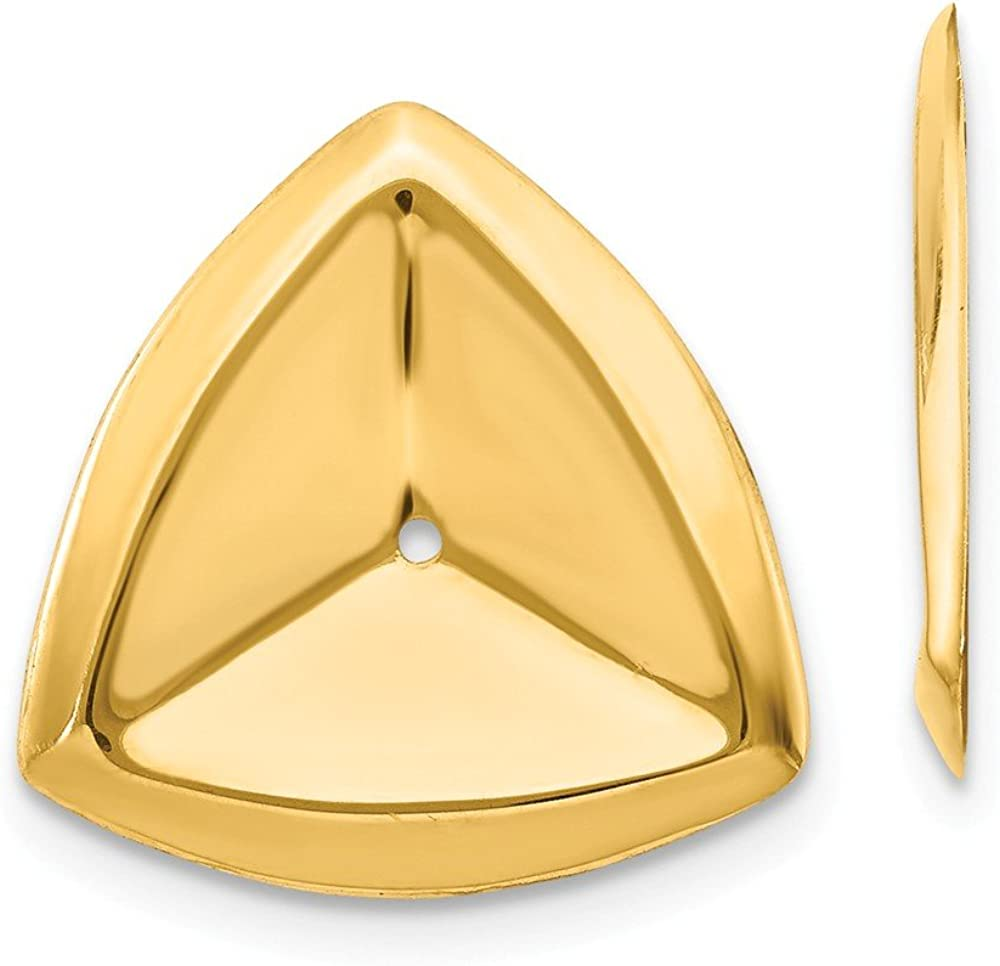 14K Yellow Gold Polished Triangle Earring Jackets