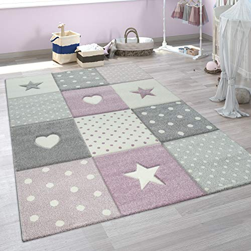 Paco Home Alfombra Infantil A Cuadros Corazones Estrellas Tamaños, tamaño:120x170 cm, Color:Púrpura