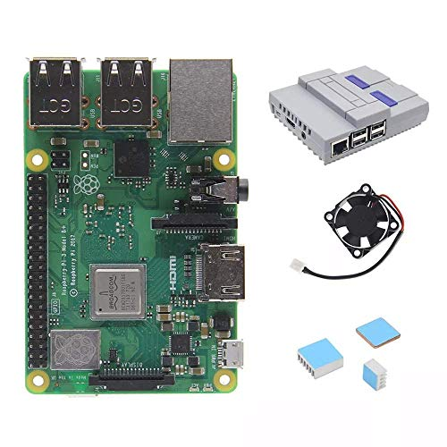 CLJ-LJ 4 in 1 Raspberry Pi 3 Model B+(plus) Board + Mini NES Style Case + Heatsinks Starter Kits + Cooling Fan Wood Shaving Tools