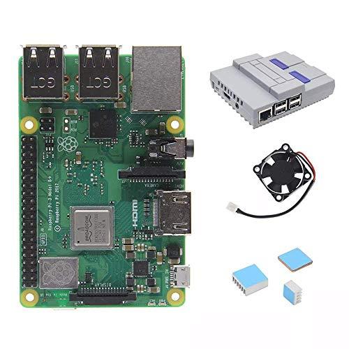 LHQ-HQ Módulo kit de bricolaje 4 en 1 Frambuesa Pi 3 Modelo B + (más) + kits de iniciación disipadores de casos Junta + Mini NES Style + Accesorios refrigeración Ventilador de visualización