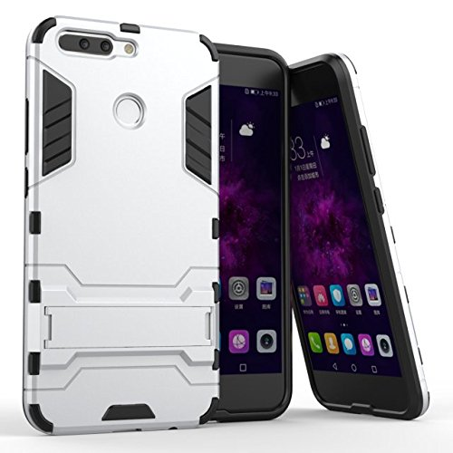 Huawei Honor 8 Pro Hülle, Huawei Honor V9 Hülle,MHHQ Hybrid 2in1 TPU+PC Schutzhülle Rugged Armor Case Cover Dual Layer Bumper Backcover mit Ständer für Huawei Honor 8 Pro/Honor V9 -Silver