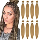 Easy Braid Pre-stretched Brading Hair 26 Inch Yaki Texture Crochet Braids Hot Water Setting Synthetic Crochet Hair Extension 8 Packs Ombre Natural Blonde (26', #27)