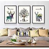 YUQIYU Nordic Living Decoración Pintura Elk Sofá Fondo de la Pared Pintura tríptico Moderna de la Pintura Modelo Simple Nano paño Mural W40m * H60cm Arte clásico